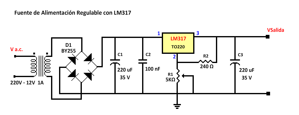 Circuito Lm317 : Fuente de alimentación regulable con lm