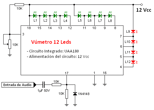 Circuito Vumetro : Vúmetro a base de leds