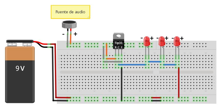 Leds audio-ritmicos con TIP31